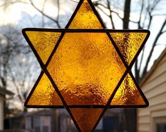 Star of David Stained Glass Suncatcher -Golden Yellow
