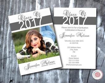 Digital Graduation Invitation, Announcement, Photo Invitation, Class Of, Graduate, Made to Order, Custom, Grad Party