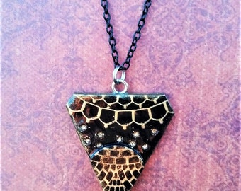 Black & Gold Geometric Polymer Clay Necklace Pendant
