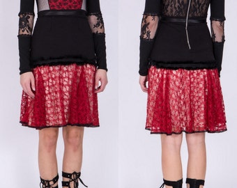 BIG SUMMER SALE Black and red lace dress