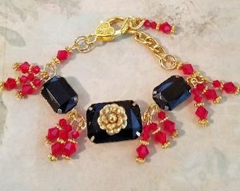 Date Night Jet & Red Bracelet