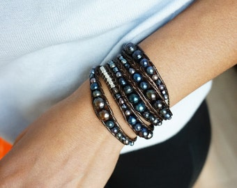Dark Blue Freshwater Pearl Wrap Bracelet with Crystal and Silver Bead