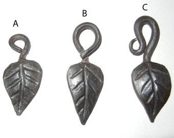 Blacksmith hand forged leaf key chain or pendant.