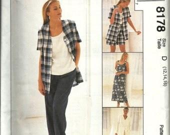 McCall's 8178   Misses Dress, Top, Jacket, Shorts and Pants   Size 12,14,16  Uncut