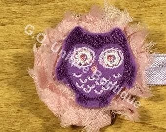 Owl 1-6 years Shabby Flower Headband