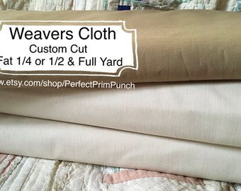 Quality Weavers Cloth! Natural Hand dyed Walnut White Punch Needle, By the yard, Fabric, Fat quarter, yardage, Color, Prim Primitive pattern