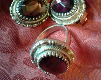 Set of purple matching Earrings and Ring set