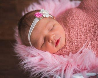 Pink Headband, White Headband, Pink and white Headband, pink petite Headband, Pink newborn photo prop, nylon headband