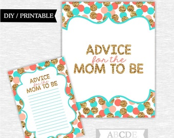 Instant Download Coral Turquoise Glitter Gold Polka Dots Girl Baby shower, Advice for the Mom to be Cards DIY Printable (SWGL002)