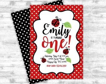 Baby Girl Ladybug Birthday invitation 5x7, Ladybug , DIY Printable  (PDLB101)