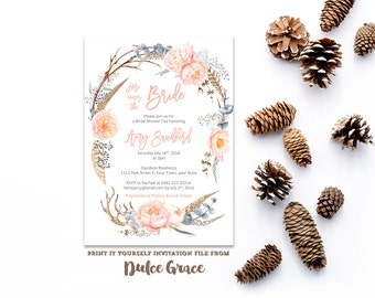 Bridal Shower Invites, Wedding Shower invitations, Here comes the Bride invitation, digital invitation, feathers invites, deer horns invite