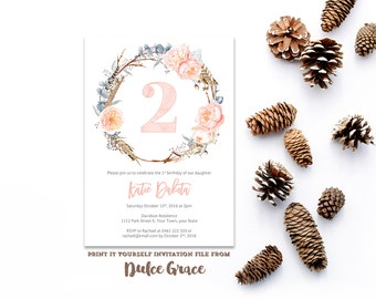 2nd birthday invites, girl party invite, any age invitations, bohemian invite, peach floral invites, anniversary party, PRINTED or PRINTABLE