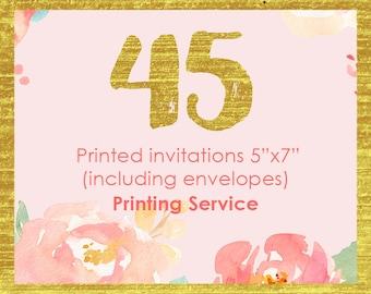 45 professionally printed invitations, white envelopes included, child birthday invites, bridal shower invitations, shower invite cards