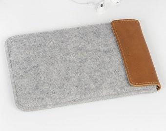 iPad Mini Sleeve - iPad Mini Case - iPad Mini Cover - iPad Mini Leather - Felt and Leather Case