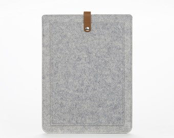Macbook Pro 13 Case - Grey Felt Macbook Pro 13 Cover - Sleeve Macbook 13 Pro - Felt and Leather Macbook Bag - Leather Macbook 13 Pro Case