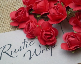 12 Red coloured Mulberry Paper Tea Rose Flower 20mm,