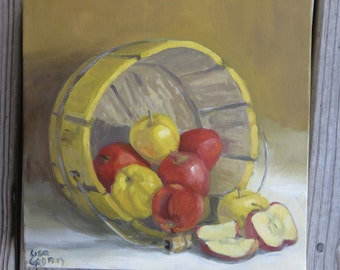 Original Oil Painting Red/ Yellow Apples in a Yellow Bucket