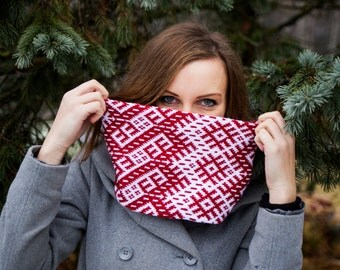Latvian design infinity scarf interesting folk pattern circle scarf wrap it double as a cowl