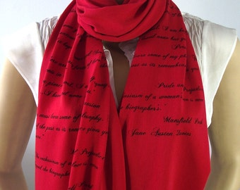 JANE AUSTEN Literary Scarf - Pride and Prejudice Emma Persuation Sense and Sensibily Quotes Handprinted Scarf with Text Book Lovers Gifts