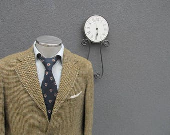 1940s Vintage HARRIS TWEED Olive Sack Jacket 42T Tall 42 Long / Virgin Scottish Tweed Sport Coat with Suede Elbow Patch / Union Made in USA