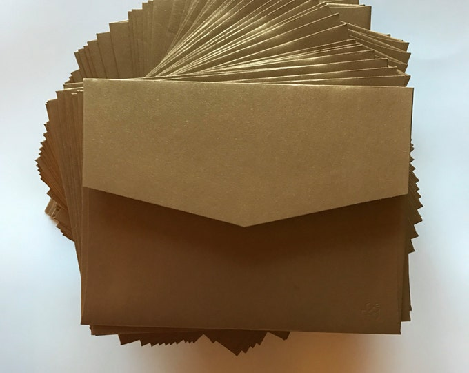 4x5 Metallic Shiny Antique Dark Gold Wedding Invitation RSVP Envelopes