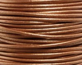 Metallic Bronze - 1.5 mm Round Leather Cord - By The Yard