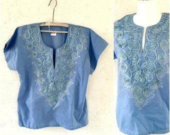 Embroidered blue cotton blouse * Crew neck blouse * Summer top * Beach top * Blouse M Medium Large