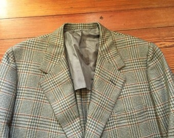 Vintage 90s Oxxford Clothes Green Orange Glen Plaid Sport Coat Blazer 46-48