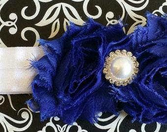 Royal Blue And White Headband, Blue Headband, Royal Blue Accessory, Baby Headband, Blue Hair Accessory