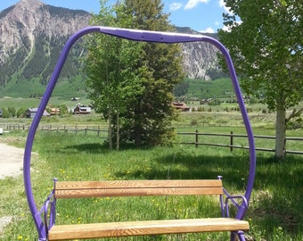 Antique 1970's Crested Butte Colorado triple ski chair lift bench FREE SHIPPING.