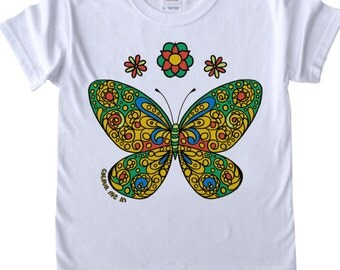 Girls T shirt to Colour in Butterfly Design Doodle Colouring in Art Fabric Pens Tee Shirts Fun Activity for Kids