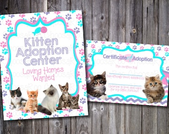 KITTY PAW-ty - Pet Party - Adoption Certificate & Sign - Easy to Print!