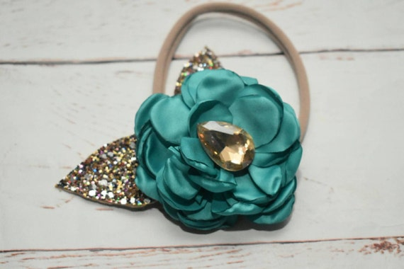 Green single flower elastic headband - Baby / Toddler / Girls / Kids Headband / Hairband / Hair bow / crown