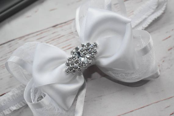 White and silver christening bow - Baby / Toddler / Girls / Kids Elastic Hairclip / Hair Barrette / Hairband / Headband