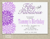 Fifty and Fabulous Invitation Purple and Gray 50th Birthday Invitation flower Bloom Burst Chevron Party Invite Printable JPG File 72a