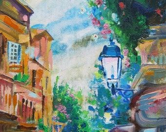 Picture Art Original Oil Painting City Street