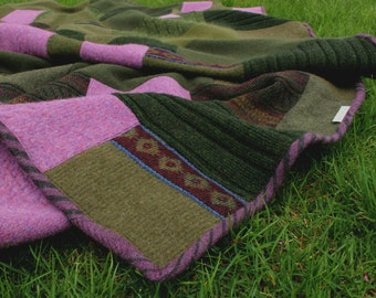 """Felted wool sweater blanket """"The Redbud"""""""