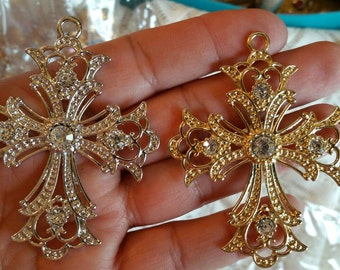 silver rhinestone cross ready for  embellishment of your shabby chic project.