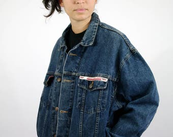 Vintage 90s Jean Denim Jacket Road 90 Dark Blue Men Mens Women Womens L