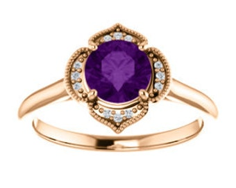 Amethyst Diamond 14K Rose Gold Vintage Floral Style Halo Engagement Ring, Round Gemstone