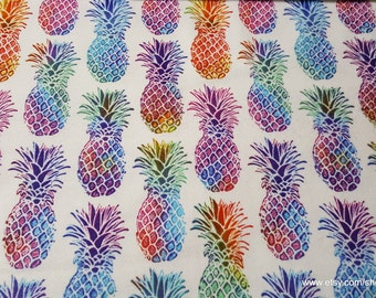Flannel Fabric - Multicolor Bright Pineapples - By the Yard - 100% Cotton Flannel