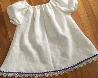 Beautiful White Linen Peasant Dress Tunic Top with Lace And Purple Rickrack Accents TCU Applique
