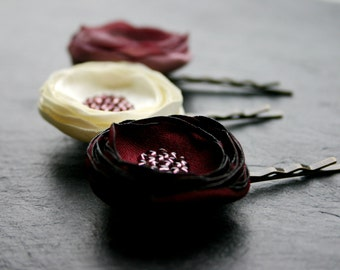 Set of 3 small hair flowers, hair clips, wine red, rosewood and cream, bridal, festive, with glass beads, hair accessories