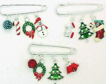 Christmas pin, christmas safety  pin, christmas brooch, christmas tree pin, snowman pin, grandma christmas brooch, stocking stuffer