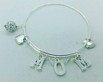 Mom charm bangle, mom bracelet, mom bangle, mothers day gift, mom birthday gift, mom heart bangle, mom heart bracelet, mom adjustable bangle