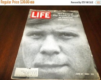 Save 25% Now Vintage June 28 1969 Life Magazine The Faces of the American Dead in Vietnam One Weeks Toll RARE