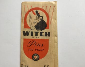 Vintage Witch Steel Pins with Great Graphics