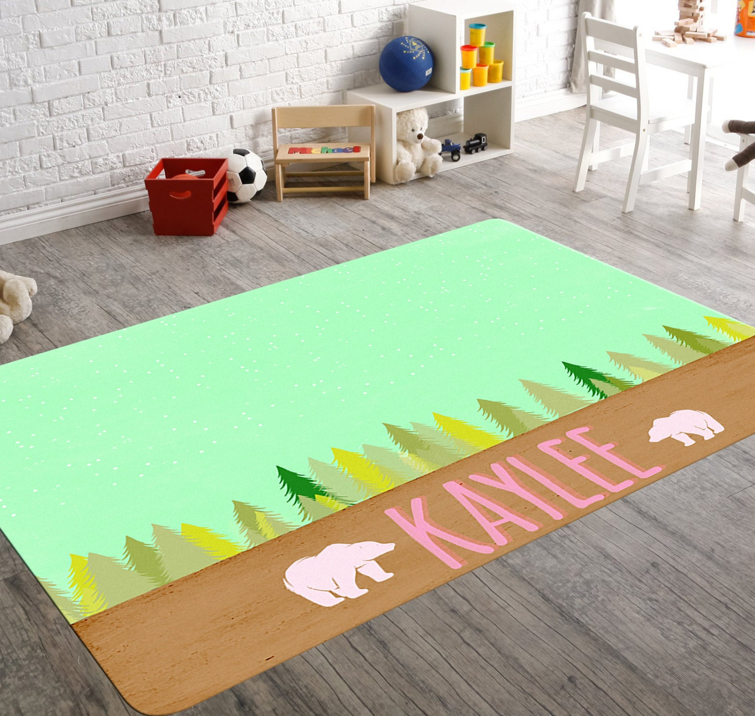 Baby Girl Rug Mint Rug Bear Rug Brown Rug Little Girl Room