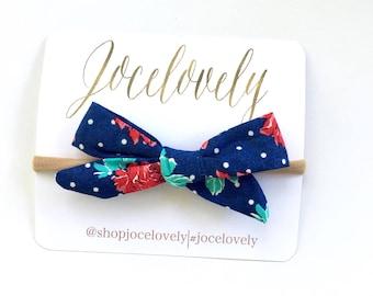 Navy Blue Floral Mini Hair Bow, Toddler Hair Bow, Baby Hair Bow, Baby Bow, Baby Bow Headband, Bow Headband