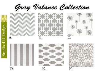 "CUSTOME ORDER. 17"" Long .Gray Valance. Gray Valence.Gray Window Drapes.Gray Valance window curtain."